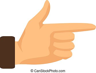 Hand pointing with index finger on a white background. Vector illustration
