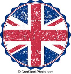 UK flag stamp with grunge. Vector illustration
