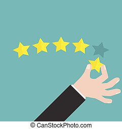 Businessman hand giving five star rating, Feedback concept,...