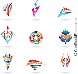 Various Abstract Shapes and Lines - Abstract Icons and Lines...