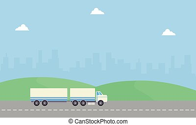 Beauty landscape container truck of vector flat