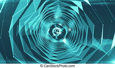 Abstract background with triangles tunnel. Seamless loop