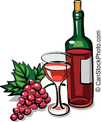 red dry wine - illustration of bottle red dry wine with...
