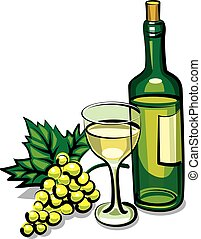 white dry wine - illustration of bottle white dry wine with...