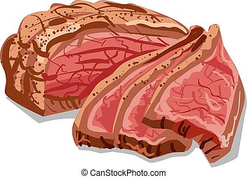 sliced bacon meat - illustration of cooked sliced bacon meat