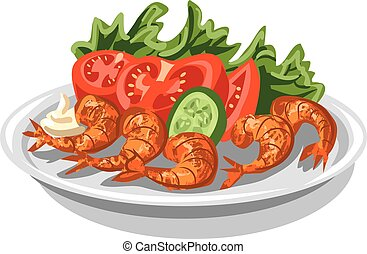 shrimps with salad - illustration of cooked shrimps with...