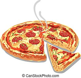 hot pizza salami - illustration of hot pizza salami with...