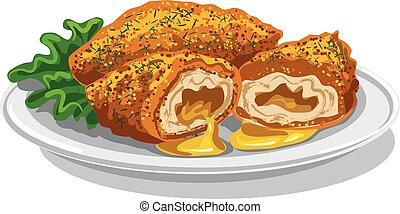 chickens cutlets.eps - chickens cutlets illustration