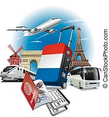 Tour in France - concept illustration of tour in France,...
