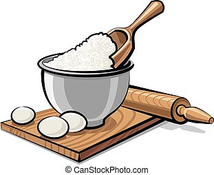 flour and eggs - illustration of bowl with flour and eggs...