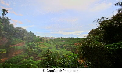 Panorama from Forestry Hilly Landscape to Waterfall in...