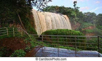 Powerful Waterfall Elephant in National Park in Vietnam -...