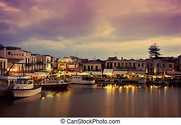 Nightfall on Rethymnon - Evening in the Venetian era harbour...