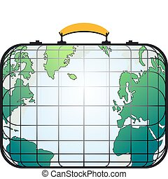 suitcase like world map - Travelers suitcase view like the...