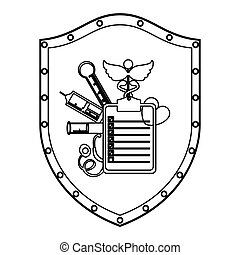 Medical equipment on shield icon vector illustration graphic...