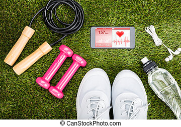 Exercise Equipment On Grassy Field - High Angle View Of...
