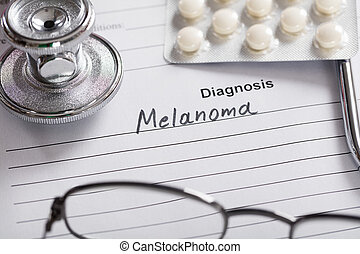 Text Melanoma On Paper - Close-up Of Text Melanoma On Piece...