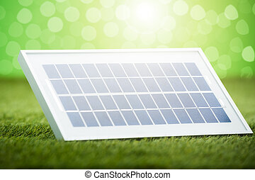 Solar Panel Placed On Grass