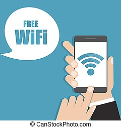 Hand holding smartphone with free wifi. Vector illustration