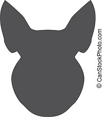 Black silhouette of pig head on a white background. Vector illustration