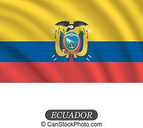 Waving Ecuador flag on a white background. Vector...