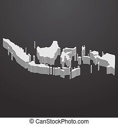 Indonesia map in gray on a black background 3d