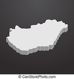 Hungary map in gray on a black background 3d