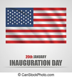 Inauguration Day with USA waving flag on a gray background