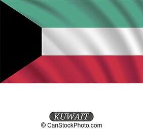 Waving Kuwait flag on a white background. Vector illustration