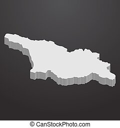 Georgia map in gray on a black background 3d