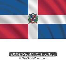 Waving Dominican Republic flag on a white background. Vector illustration