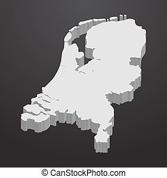 Netherlands map in gray on a black background 3d