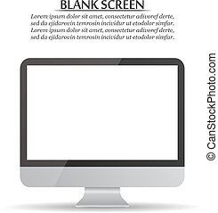 Blank screen. Computer monitor on a white background