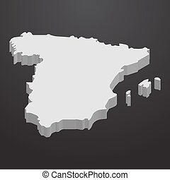 Spain map in gray on a black background 3d