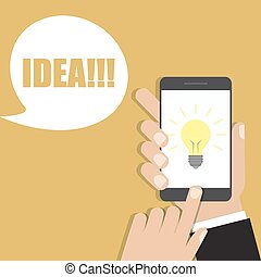 Hand holding smartphone with lightbulb icon. Vector illustration