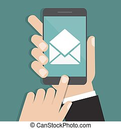 Hand holding smartphone with email icon. Vector illustration