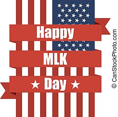 USA flag with ribbon. Happy MLK day. Vector illustration