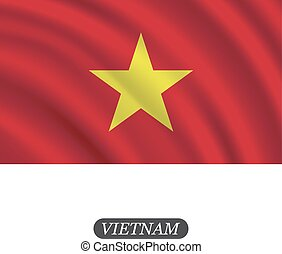 Waving Vietnam flag on a white background. Vector...