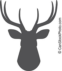 Black silhouette of deer's head on a white background....
