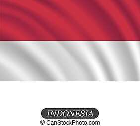 Waving Indonesia flag on a white background. Vector illustration