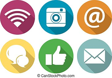Set of icons for social networking in a flat design with long shadow