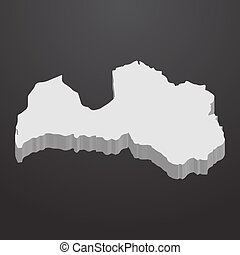 Latvia map in gray on a black background 3d