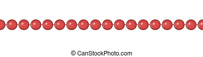 Seamless pattern with red necklace. Christmas background