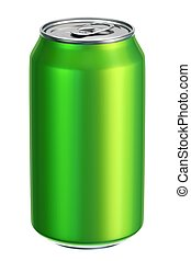 Green drink can 3D illustration - Green aluminium drink can...