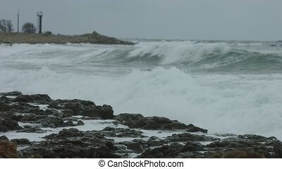 Sea in the storm, coastline