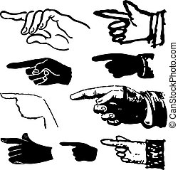 Collection of hand pointing