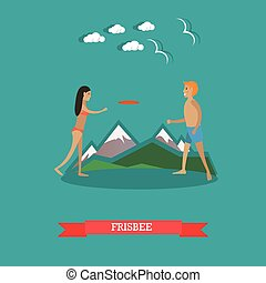 Vector illustration of young couple playing frisbee on the...