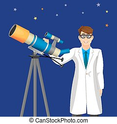 Scientist man with telescope on background of cosmic sky...