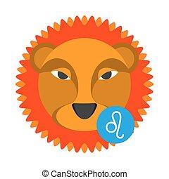 Leo astrology sign isolated on white. Horoscope zodiac symbol