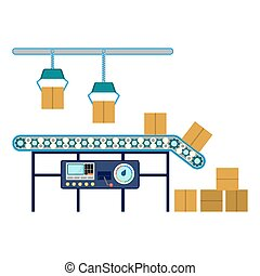 Industrial equipment for packaging boxes, machinery line assembly conveyor